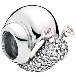 925 Sterling Silver CZ Snail Pandora Compatible Bead Charm