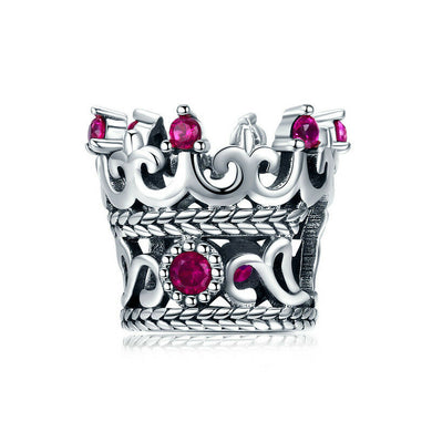 925 Sterling Silver Pink CZ Crown Pandora Compatible Bead Charm