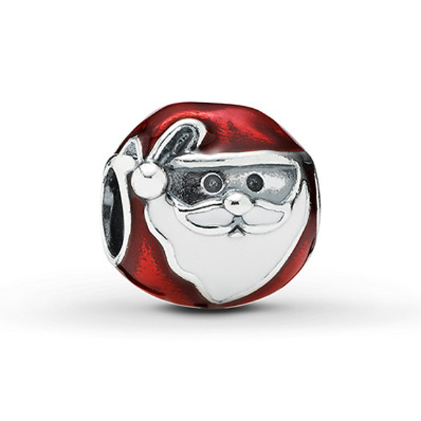 925 Sterling Silver Jolly Santa Red and White Enamel Christmas Pandora Compatible Bead Charm