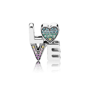 925 Sterling Silver Colourful CZ LOVE Pandora Compatible Bead Charm