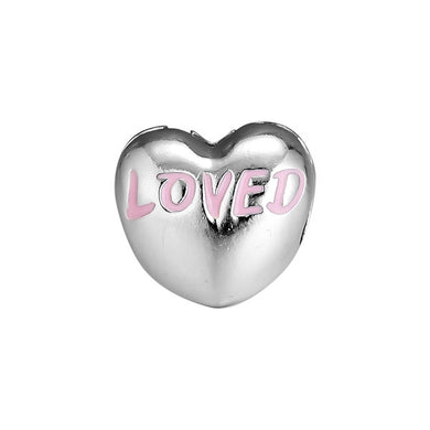925 Sterling Silver Heart Shaped Pink Enamel LOVED Pandora Compatible CLIP
