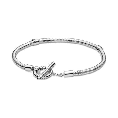 925 Sterling Silver T-Bar Clasp Snake Chain Bracelet