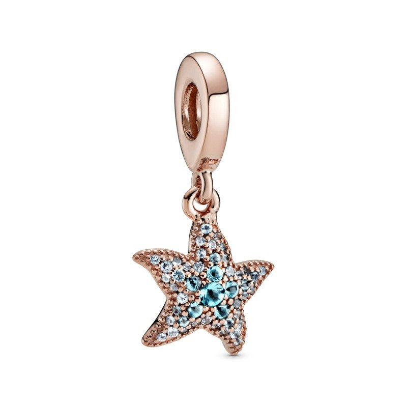 925 Sterling Silver Rose Gold PLATED Teal CZ Starfish Pandora Compatible Dangle Charm