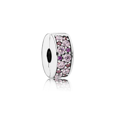 925 Sterling Silver Sparkling Mixed Pink CZ Pandora Compatible CLIP
