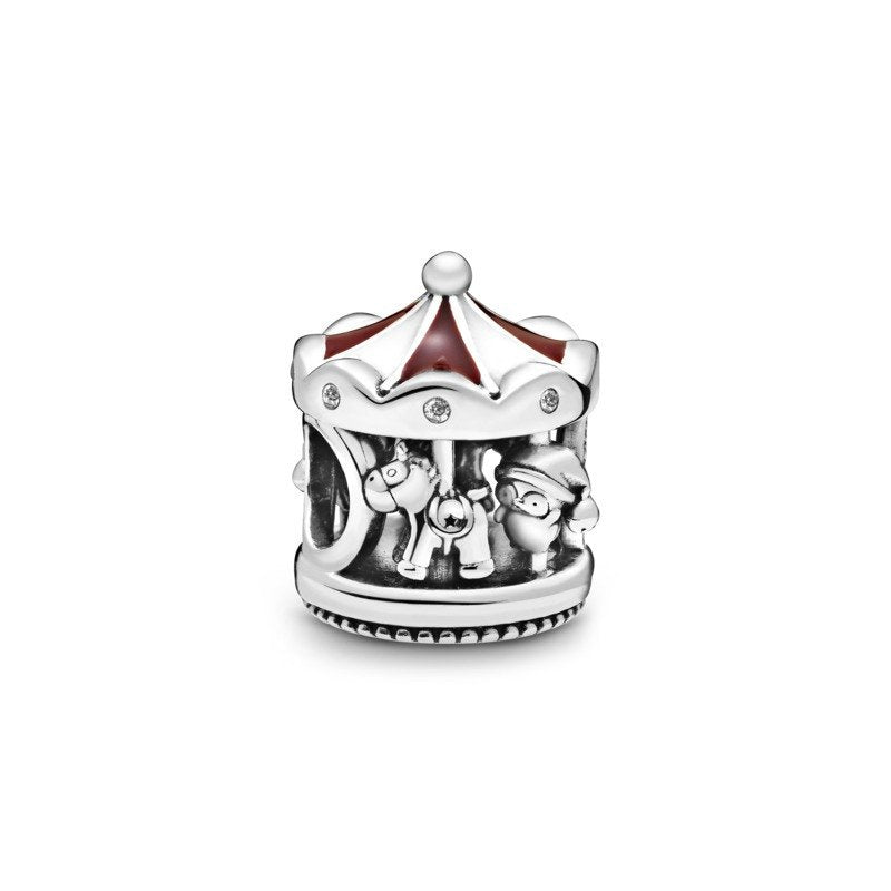 925 Sterling Silver Christmas Carousel Pandora Compatible Bead Charm