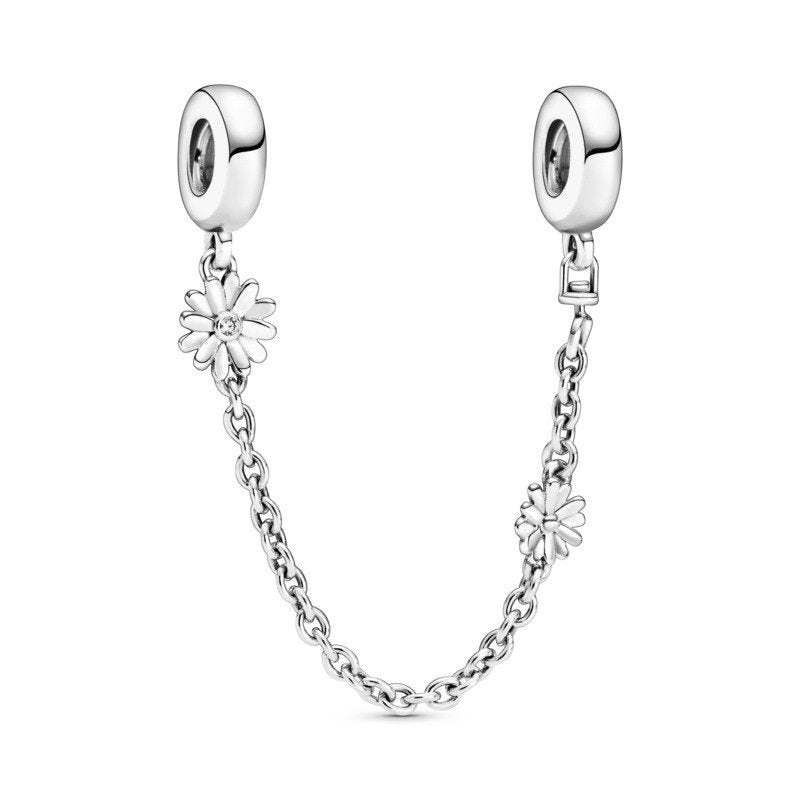 925 Sterling Silver Daisy Pandora Compatible SCREW ON Safety Chain