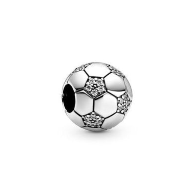 925 Sterling Silver CZ Soccer Ball Pandora Compatible Bead Charm