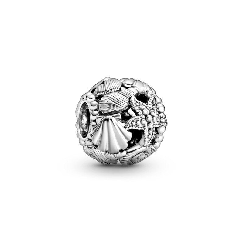 925 Sterling Silver Fabulous Starfish, Shells & Hearts Pandora Compatible Bead Charm