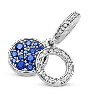925 Sterling Silver Blue CZ Pandora Compatible Dangle Charm