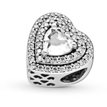 Load image into Gallery viewer, 925 Sterling Silver CZ Shimmering Heart Pandora Compatible Bead Charm