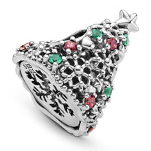 Load image into Gallery viewer, 925 Sterling Silver CZ Christmas Tree Pandora Compatible Bead Charm