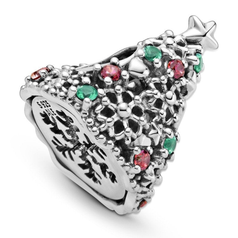 925 Sterling Silver CZ Christmas Tree Pandora Compatible Bead Charm