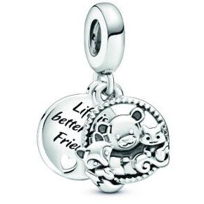 925 Sterling Silver Life is Better with Friends Pandora Compatible Charm