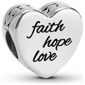 925 Sterling Silver Faith Hope Love Engraved Heart Pandora Compatible Bead Charm