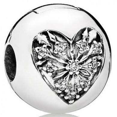 925 Sterling Silver Heart Snowflake Pandora Compatible CLIP