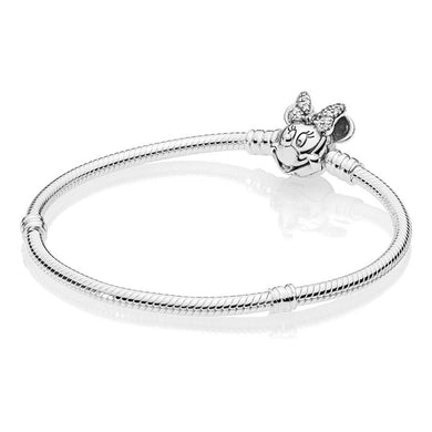 925 Sterling Silver Minnie Mouse Clasp Pandora Compatible Snake Bracelet