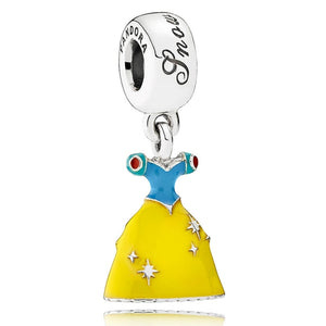 925 Sterling Silver Snow White Dress Enamel Colour Pandora Compatible Dangle Charm