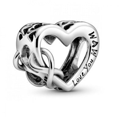 925 Sterling Silver LOVE YOU MOM Infinity Heart Pandora Compatible Bead Charm