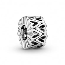 Load image into Gallery viewer, 925 Sterling Silver Heart Patterned Pandora Compatible Spacer