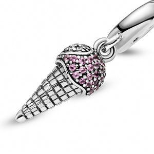 925 Sterling Silver Pink CZ Ice Cream Pandora Compatible Dangle Charm