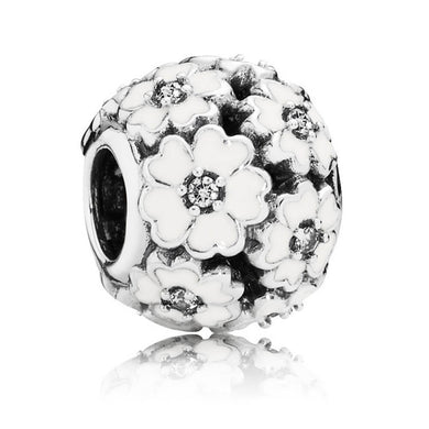 925 Sterling Silver White Primrose Flower Pandora Compatible Bead Charm