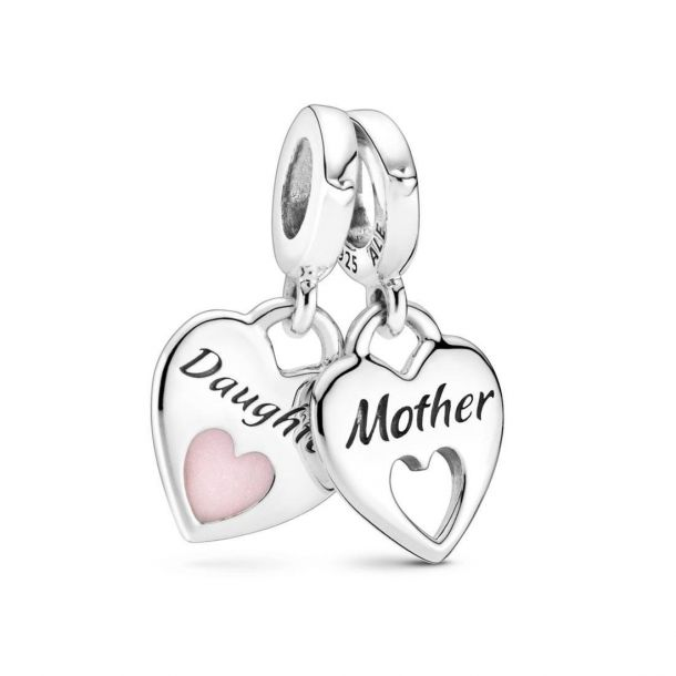 925 Sterling Silver Mother and Daughter Heart SET Pandora Compatible Dangle Charm