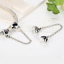 Load image into Gallery viewer, Genuine 925 Sterling Silver Mouse Safety Chain Stopper Charms fit  Bracelets for Women Jewelry PAS357