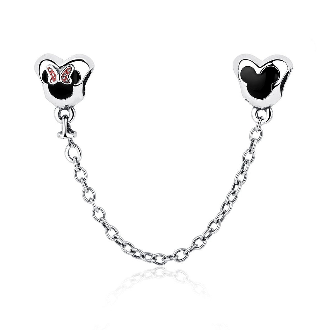 Genuine 925 Sterling Silver Mouse Safety Chain Stopper Charms fit  Bracelets for Women Jewelry PAS357