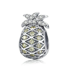 Load image into Gallery viewer, 925 Sterling Silver Yellow CZ Pineapple Pandora Compatible Bead Charm