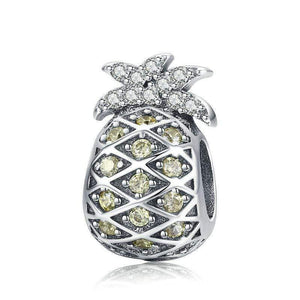 925 Sterling Silver Yellow CZ Pineapple Pandora Compatible Bead Charm