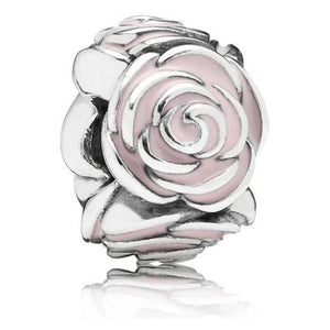 925 Sterling Silver Pink Rose Pandora Compatible Spacer