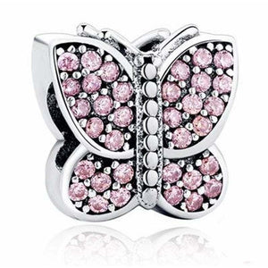 925 Sterling Silver Sparkling CZ Pink Butterfly Pandora Compatible Charm