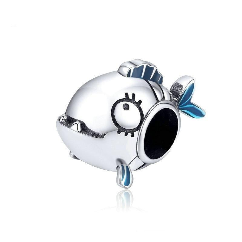 925 Sterling Silver Blue Enamel Piranha Fish Pandora Compatible Bead Charm