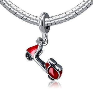 925 Sterling Silver Red Enamel Scooter Pandora Compatible Charm