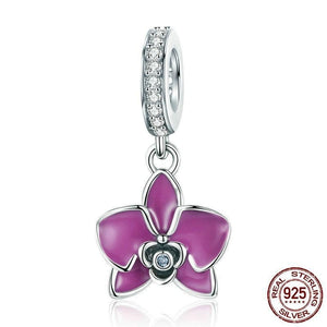 Genuine 925 Sterling Silver Romantic Orchid Flower Enamel Charm