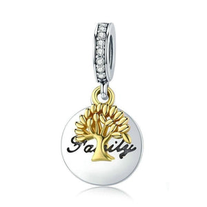 925 Sterling Silver Family Tree Gold Color Tree CZ Charm