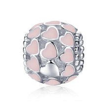 Load image into Gallery viewer, 925 Sterling Silver Sweet Heart to Heart pink Enamel Beads