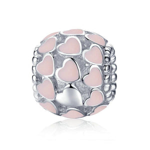 925 Sterling Silver Sweet Heart to Heart pink Enamel Beads
