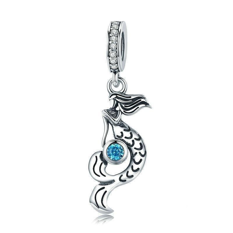 925 Sterling Silver Blue CZ Mermaid's Missing Pandora Compatible Dangle Charm