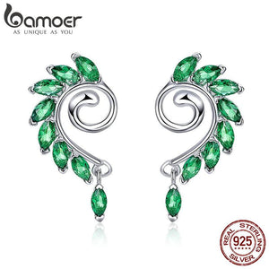 High Quality 925 Sterling Silver Green CZ Tree Leaves Tree Leaf Stud Earrings