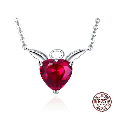 925 Sterling Silver Pink CZ Angel Wings Necklace