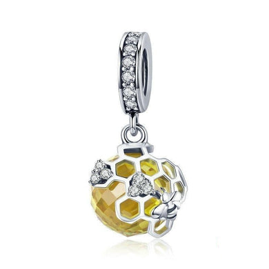 925 Sterling Silver Honeycomb Bee Pendant Yellow CZ Cubic Zircon Charm