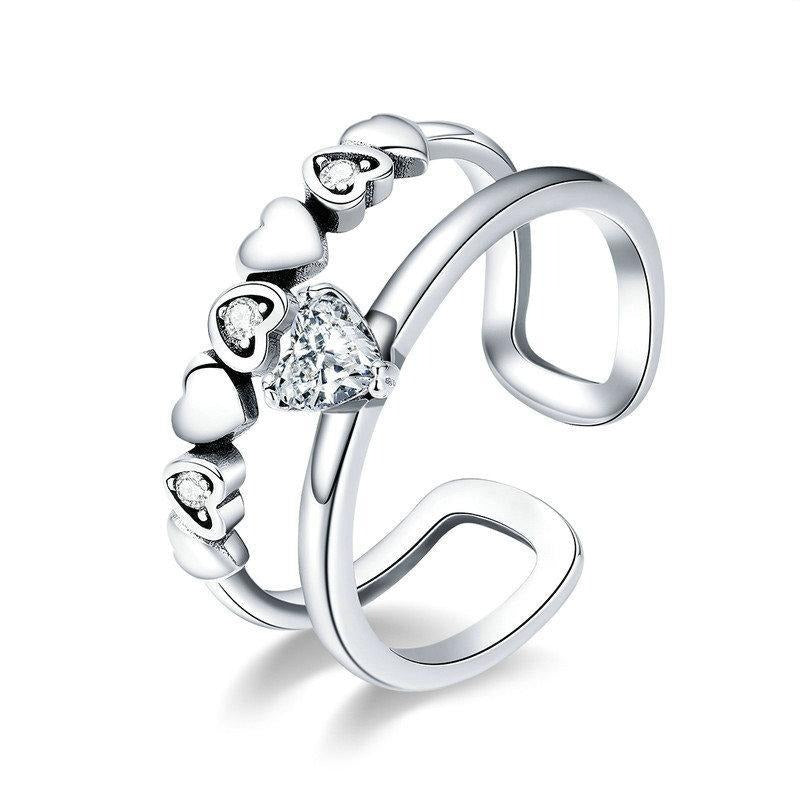 925 Sterling Silver Elegant Heart to Heart Clear Cubic Zircon Open Size Ring