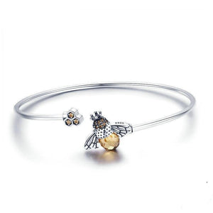 Sterling Silver Crystal Bee And Honeycomb Women Silver Bracelets Bangle
