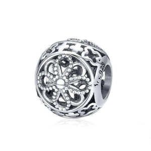 925 Sterling Silver Openwork Flower Motive Pandora Compatible Bead Charm