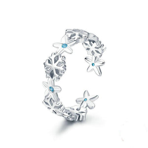 925 Sterling Silver Blue CZ Winter Snowflake Adjustable Ring