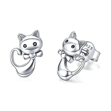 925 Sterling Silver Sticky Cat Small Stud Earrings