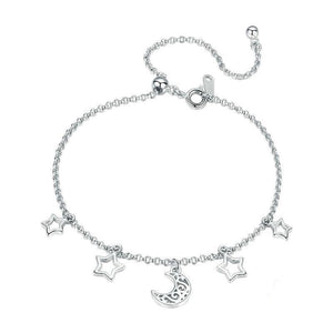 925 Sterling Silver Moon And Star Chain Link Adjustable Bracelet