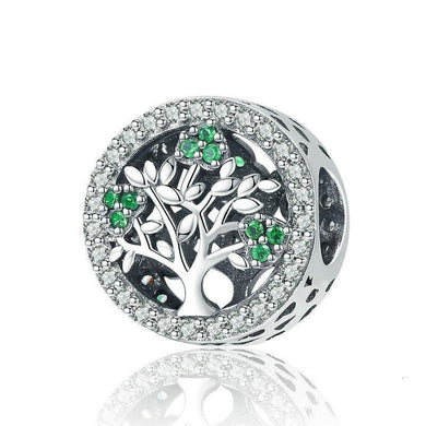 925 Sterling Silver Tree of Life Dazzling CZ Round Charms Beads