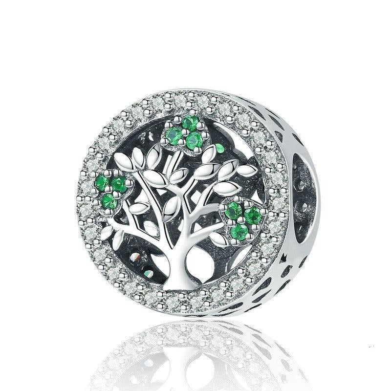 925 Sterling Silver Clear and Green CZ Tree of Life Pandora Compatible Bead Charm